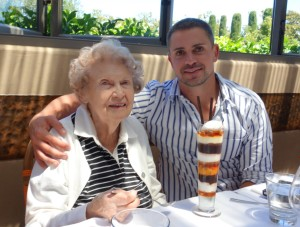 Grandma Marie and me (and her favorite dessert)